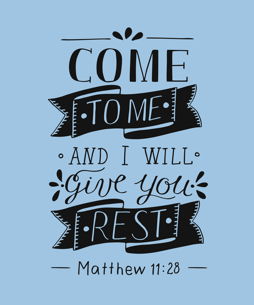 Hand lettering Come to Me and I will give you rest. Biblical background. Christian poster. Vintage. Card. Scripture. Matthew