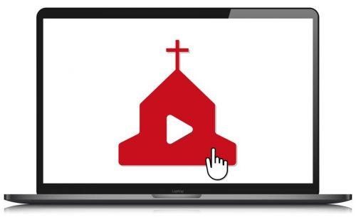 laptop mockup online church video streaming vector illustration