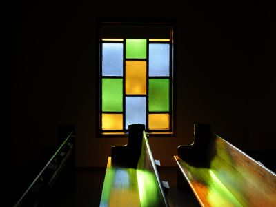 Stained glass windows _ pews